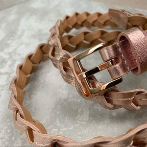 Vince Camuto Braided Leather Belt Champaign Color